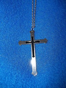 """Necklace Silver Tone and Black Christian Cross 32"""" Long 16"""" Drop"""