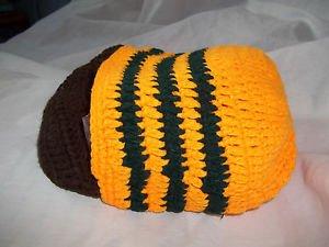 Knit Hat Orange and Black Beard Winter Wool Brown button on Beard