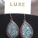 Stained Glass Look Earrings Drop  Gold Tone Elegant Aqua White