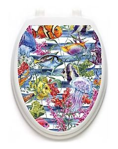 Toilet Tattoos Sealife   Lid Cover  Decor Silver Reusable Vinyl 1125