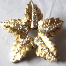 Pin Flower Shape Crystals Vintage Brooch or   Gold Plated