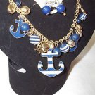 Sailing  Necklace and Earrings Ocean Anchor Charm Blue White Nautical