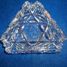 "Smoking Tray Cut Glass Triangle Shape 3 1/2"" Ashtray Free"