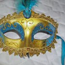 Mardi Gras Feather Mask Gold and Aqua Satin Ribbon Aqua  Stone  Hand Painted