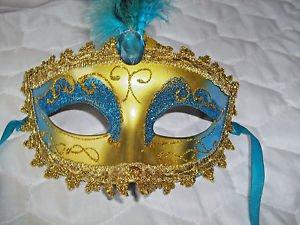 Mardi Gras Feather Mask Gold and Aqua Satin Ribbon Aqua  Stone  Hand Painted