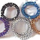 Stretch Rhinestone Bracelets Fashion Blue Purple Black Silver Golden Gift Box