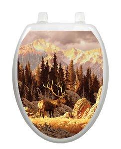 Toilet Tattoos Bathroom Decor Seat Lid   Elk  Bull Mountain  Reusable