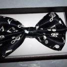 Bow Tie Music Notes Black and White Polyester Clip and Hook Gift Box