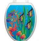Toilet Tattoos Toilet Seat Decoration Under the Sea Fish Toilet Lid Cover  Blue