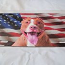 Dog Pit Bull and American Flag License Plate Steel
