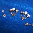 Ear Cuff Earrings Gold Toned Butterfly Flower Rhinestone NEW
