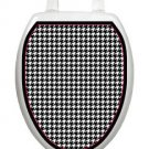 Toilet Tattoos Houndstooth Lid Cover  Decor  Reusable Vinyl