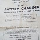 Instruction Book Sears Battery Charger 608.71515