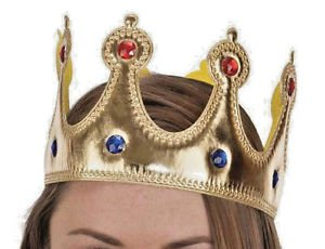 Crown King or Queen Jeweled Gold Fabric Adult or Child NEW Free Shipping