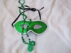Eye Mask Glitter Green with Mardi Gras Beads  Adult