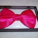 "Bow Tie Shocking Pink 4 3/4"" x 3"" Polyester Bowtie Free Gift Box Hook and Clip"