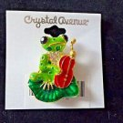 Green Frog Guitar Pin Broach Brooch Enameled Green Red Rhinestones USA Shipping