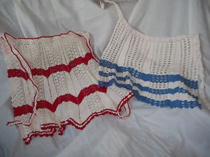 Aprons Tea Dress Vintage Chrocheted White with Blue and with Red Two