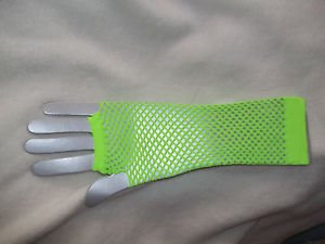 Gloves Neon Green Elbow Length Neon Fishnet Fingerless Costume