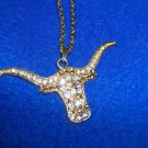 "Western Steer Cattle Fashion Jewelry  Necklace Gold Tone Rhinestones  15"" Drop"