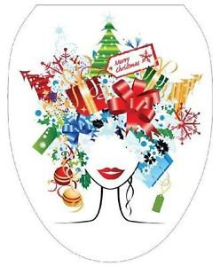 Toilet Tattoos Toilet Lid Cover Vinyl Cover Christmas Lady