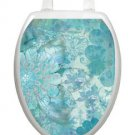 Toilet Tattoos Toilet Lid Cover  Decor Blue Floral Haze  Removable Vinyl