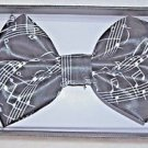 Bow Tie Music Staff and Clefts Black and White Polyester Clip and Hook Gift Box