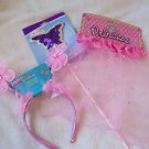 Butterfly  Princess Girls Play Costume Wand Headband and Skirt