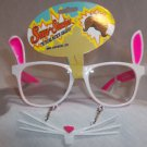 Bunny Eyeglasses Cute White and Pink Whiskers Clear Glasses Adult or Child