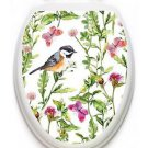Toilet Tattoos Robin in the Garden Lid Cover  Decor  Reusable Vinyl 1129