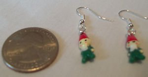 Elf Earrings  Hand Made French Hooks  Green and Red and White NEW