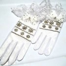 White Jeweled Gloves Wedding  Lace Bridal White Toule and Lace Crystal Jeweled