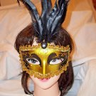 Mardi Gras Feather Mask Gold and Black  Satin Ribbon Black  Stone Hand Painted