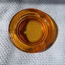 "Smokers Tray Glass Amber Cigarette Smoking Round 4 1/4""  Vintage Look"