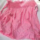 "Hand Made  Tea Apron  Pink Gingham Smocked Lovely Work  21"" x 18""  Charming"