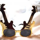 Party Glasses Guitar Player Sunglasses Plastic Gold or Silver