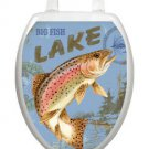 Toilet Tattoos Big Fish Lake  Blue Toilet Seat Lid  Decoration  Vinyl  Reusable