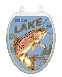 Toilet Tattoos Big Fish Lake  Blue Toilet Seat Lid  Decoration  Vinyl  Reusable