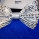 Bow Tie Silver Sequins  Elastic Adjustable Bowtie Classic Hook and Clip Gift Box