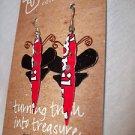 Earrings Red and Black Fair Trade Global Crafts Earrings Dragon Fly Hook