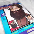 Beard Black Curley Attached Moustache Mountain Man Hippie  Elastic Hold On