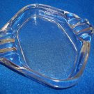 "Smokers Tray Square Clear Glass 4"" Six Notches Nicely Shaped Smoker"