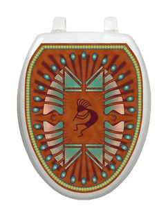 Toilet Tattoos Kokapelli Native Brown  Bathroom Seat Decoration Vinyl Removable