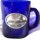 Ronald Reagan Souvenir Mug USS Blue Glass Navy Ship