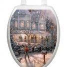 Toilet Tattoos Lid Decor  Christmas Scene Glistening Snow Vinyl Removable