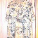 Centro Hawaiian Luau Cruise Shirt XL  Rayon Washable White Green Print