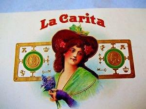 Lithograph  LA CARITA Woman holding Violets Hat Raised gold printing