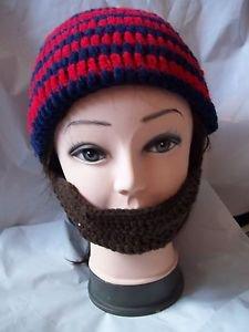 Men's Winter Knitted Ski Face Mask Knit Beard Moustache Hat Cap Warmer Red Blue