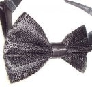 Bow Tie Black with Black Sequins Adjustable Hook Clip Dressy Gift Box