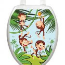 Toilet Tattoos Toilet Lid Cover  Decor Monkey Business  Reusable Vinyl